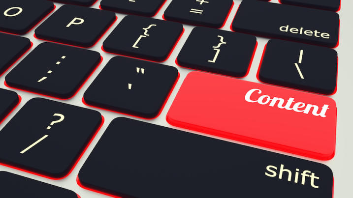laptop Keyboard with red Content button, work concept. 3d rendering